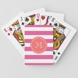 Hot Pink White Stripes Pattern, Coral Monogram Playing Cards