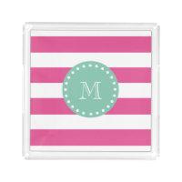 Hot Pink White Stripes Pattern, Mint Green Monogra Acrylic Tray