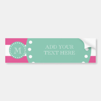 Hot Pink White Stripes Pattern, Mint Green Monogra Bumper Sticker