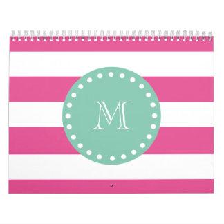 Hot Pink White Stripes Pattern, Mint Green Monogra Calendar