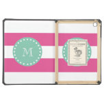 Hot Pink White Stripes Pattern, Mint Green Monogra iPad Air Cases
