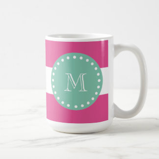 Hot Pink White Stripes Pattern, Mint Green Monogra Coffee Mug
