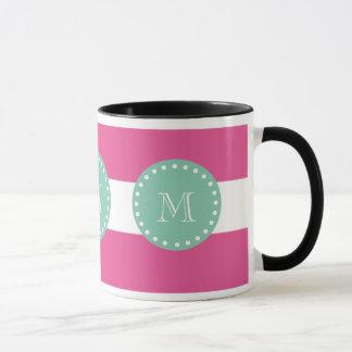 Hot Pink White Stripes Pattern, Mint Green Monogra Mug