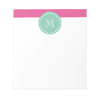Hot Pink White Stripes Pattern, Mint Green Monogra Notepad