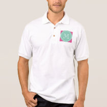 Hot Pink White Stripes Pattern, Mint Green Monogra Polo Shirt