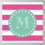 Hot Pink White Stripes Pattern, Mint Green Monogra Poster