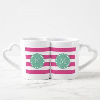 Hot Pink White Stripes Pattern Mint Green Monogram Coffee Mug Set
