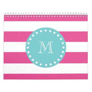 Hot Pink White Stripes Pattern, Teal Monogram Wall Calendars