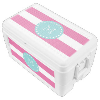 Hot Pink White Stripes Pattern, Teal Monogram Cooler