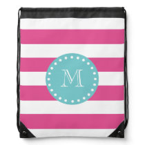 Hot Pink White Stripes Pattern, Teal Monogram Drawstring Backpack