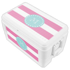 Hot Pink White Stripes Pattern, Teal Monogram Igloo Chest Cooler