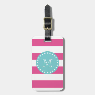 Hot Pink White Stripes Pattern Teal Monogram Bag Tags