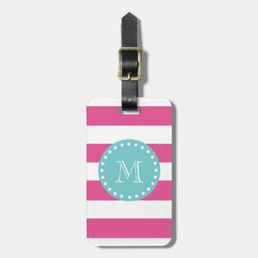 Hot Pink White Stripes Pattern, Teal Monogram Bag Tags