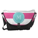 Hot Pink White Stripes Pattern, Teal Monogram Messenger Bags