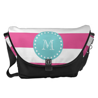 Hot Pink White Stripes Pattern, Teal Monogram Messenger Bag