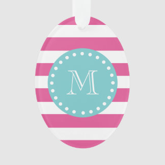 Hot Pink White Stripes Pattern, Teal Monogram Ornament