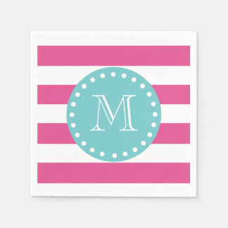 Hot Pink White Stripes Pattern, Teal Monogram Paper Napkins