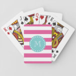 "Hot Pink White Stripes Pattern, Teal Monogram Playing Cards<br><div class=""desc"">A retro, bold, hot pink and white stripes pattern with your initial in a modern font, on a teal blue circle label, banner, frame with a dotted white line border. GraphicsByMimi&#169; Trendy, preppy, mod, lines pattern you can personalize with your monogram for her. Use the template field to add your...</div>"