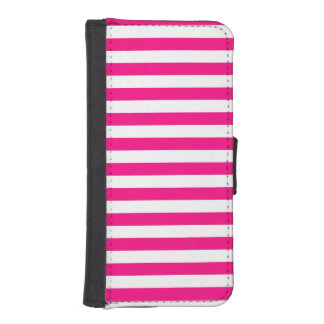 Hot Pink & White Stripes; Striped Phone Wallets