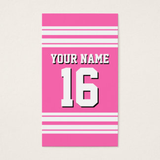 Hot Pink White Team Jersey Custom Number Name Business Card