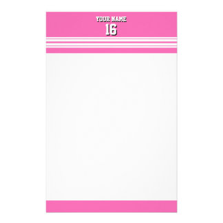 Hot Pink White Team Jersey Custom Number Name Stationery
