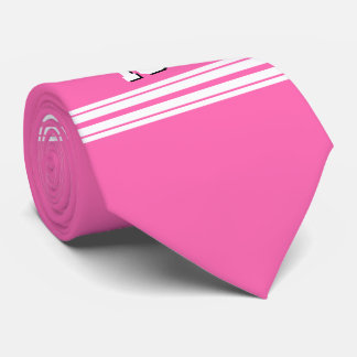 Hot Pink White Team Jersey Custom Number Name Tie