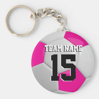 Hot Pink & White Team Soccer Ball Keychain