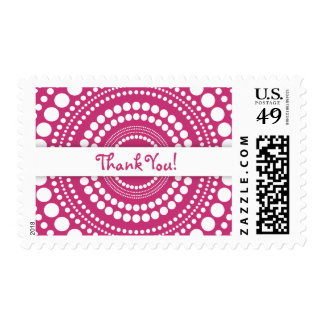 Hot Pink & White Thank You w/ Rings & Circles Postage