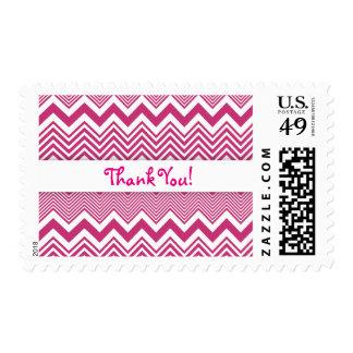 Hot Pink & White Thank You, Zig Zag Pattern Postage