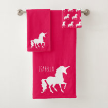 Hot Pink White Unicorn Silhouette Personalized Kid Bath Towel Set