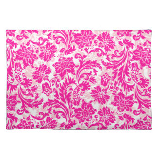 Hot Pink & White Vintage Floral Damasks Cloth Placemat