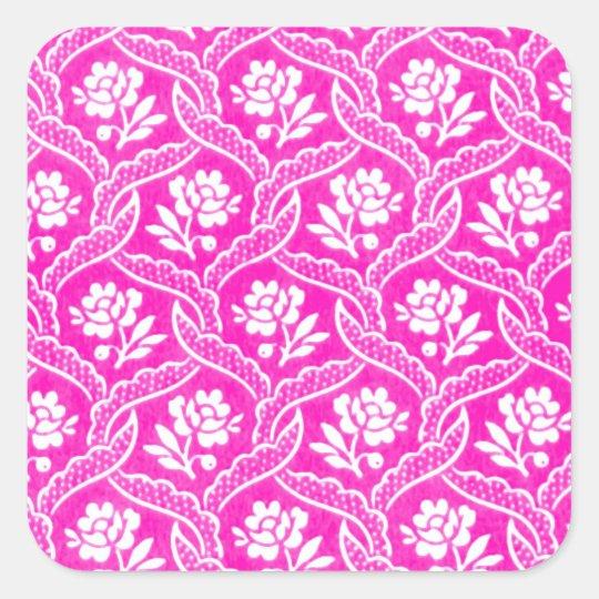 Hot Pink White Vintage Fl Wallpaper Square Sticker