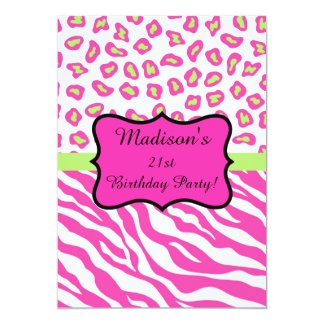 Hot Pink White Zebra Leopard 21st Birthday Party Card