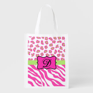 Hot Pink White zebra Leopard Skin Monogram Initial Grocery Bag