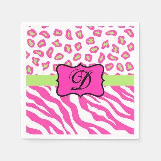 Hot Pink White Zebra Leopard Skin Monogram Initial Napkin