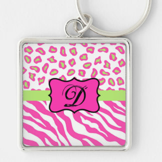 Hot Pink White zebra Leopard Skin Monogram Initial Silver-Colored Square Keychain