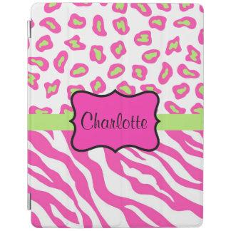 Hot Pink White Zebra Leopard Skin Name Personalize iPad Smart Cover