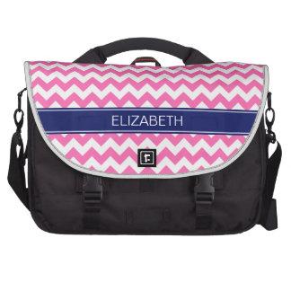 Hot Pink Wht Chevron Zigzag 7P Navy Name Monogram Bags For Laptop