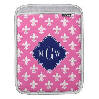 Hot Pink Wht Fleur de Lis Navy 3 Initial Monogram Sleeves For iPads