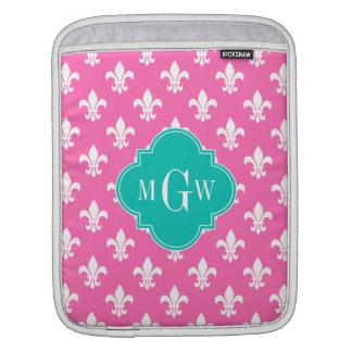 Hot pink Wht Fleur de Lis, Teal 3 Initial Monogram Sleeves For iPads