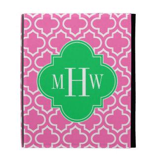 Hot Pink Wht Moroccan #6 Emerald Green 3I Monogram iPad Folio Cases