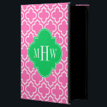 """Hot Pink Wht Moroccan #6 Emerald Green 3I Monogram Powis iPad Air 2 Case<br><div class=""""desc"""">Hot Pink #2 and White Moroccan Quatrefoil Trellis Pattern #6, Emerald Green 3 Initial Monogram Customize this with your 3 initial monogram, name or other text. You can also change the font, adjust the font size and font color, move the text to adjust the monogram letter spacing, etc. Please note...</div>"""