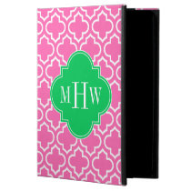 Hot Pink Wht Moroccan #6 Emerald Green 3I Monogram Powis iPad Air 2 Case