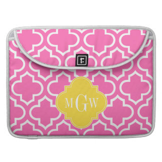 Hot Pink Wht Moroccan #6 Pineapple 3 Init Monogram MacBook Pro Sleeve