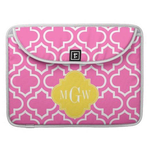 Hot Pink Wht Moroccan #6 Pineapple 3 Init Monogram MacBook Pro Sleeve