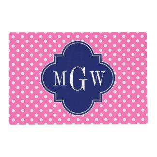 Hot Pink Wht Polka Dots Navy Quatrefoil 3 Monogram Placemat