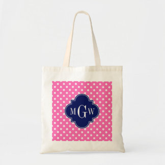 Hot Pink Wht Polka Dots Navy Quatrefoil 3 Monogram Tote Bag