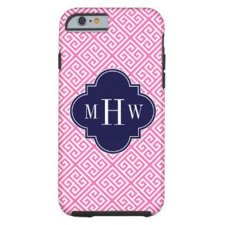Hot Pink Wht Sm Greek Key Diag T Navy 3I Monogram iPhone 6 Case