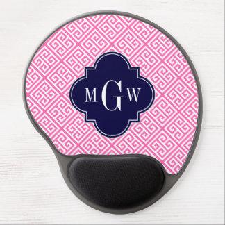 Hot Pink Wht Sm Greek Key Diag T Navy 3I Monogram Gel Mouse Pad