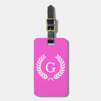 Hot Pink Wht Wheat Laurel Wreath Initial Monogram Luggage Tags